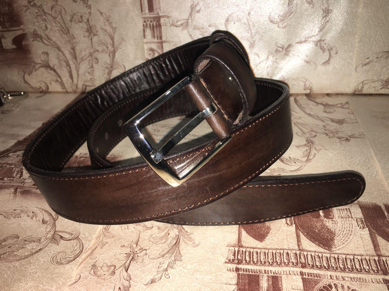 Кожаный ремень, прошитый, с подкладкой, темно-коричневый, Ремни, Таловая,  Фото №1
