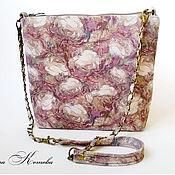Сумки и аксессуары handmade. Livemaster - original item Ladies handbag Cream roses on a purple Handbag suede. Handmade.