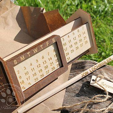 Канцелярские товары ручной работы. Ярмарка Мастеров - ручная работа Вечный настольный календарь в офис, дом, персональный подарок мужчине. Handmade.