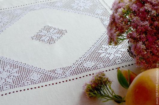 льняная белая скатерть на стол со строчевой вышивкой, мережки, подгибка конвертом, чайный стол, кружевная скатерть, скандинавский стиль, русский стиль, Эко дом, лен