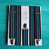 Аксессуары handmade. Livemaster - original item Dark blue suspenders 35 mm wide Elastis to the wedding, male/female. Handmade.