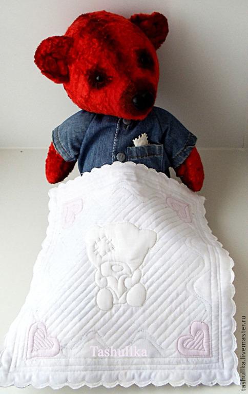 Маленькое кукольное одеяло, покрывало, микро, пэчворк, комплект для кукол, стеганное покрывало, стеганное одеяло, для кукольного домика, для детской, медведь, белый, постель для куклы, подарок,