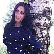 Одежда ручной работы. Ярмарка Мастеров - ручная работа Синее платье в горох.. Handmade.