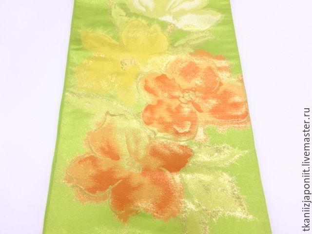 Japanese silk. OBI belt for kimono Nishijin 'Green summer', Vintage accessories, Chelyabinsk,  Фото №1