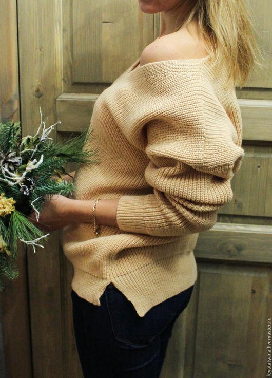 Кофты и свитера ручной работы. Ярмарка Мастеров - ручная работа. Купить Вязаный джемпер. Handmade. Бежевый, джемпер вязаный, теплый