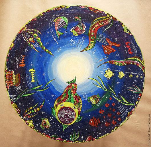 Мебель ручной работы. Ярмарка Мастеров - ручная работа. Купить Столик с Рыбами. Handmade. Разноцветный, слова, рыба, свет, рыбки