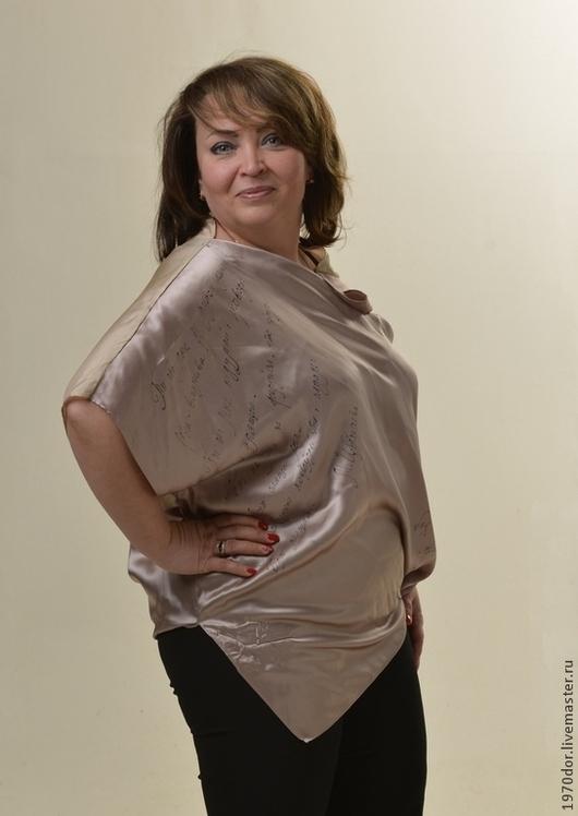 """Блузки ручной работы. Ярмарка Мастеров - ручная работа. Купить Блуза из шёлка """" Со смыслом"""". Handmade. Розовый, блузка"""