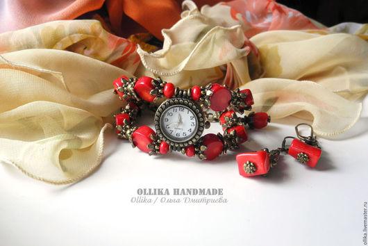 Часы ручной работы. Ярмарка Мастеров - ручная работа. Купить Часы женские на руку Барбарис, наручные часы с кораллом. Handmade.