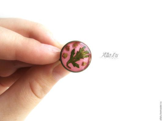 Кольца ручной работы. Ярмарка Мастеров - ручная работа. Купить Мерцающее кольцо с сухоцветами Розовое Настоящие растения. Handmade. Розовый