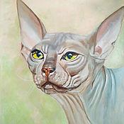 Картины и панно handmade. Livemaster - original item Painting Sphinx cat on canvas for interior. Handmade.