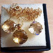 Украшения handmade. Livemaster - original item Citrine flowers925 silver, 24 carat gold. Handmade.