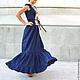 летнее платье льняное в пол платье из льна в пол длинное платье в пол с открытой спиной платье льняное синее платье летнее макси платье на лето лен льняное платье летнее длинное платье синее лен 100%