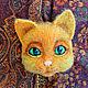 Броши ручной работы. Брошь Рыжий кот. Светлана (wetka1969). Ярмарка Мастеров. Украшения ручной работы, подарок женщине