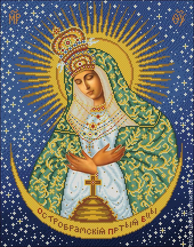Вышивка бисером остробрамская икона божьей матери