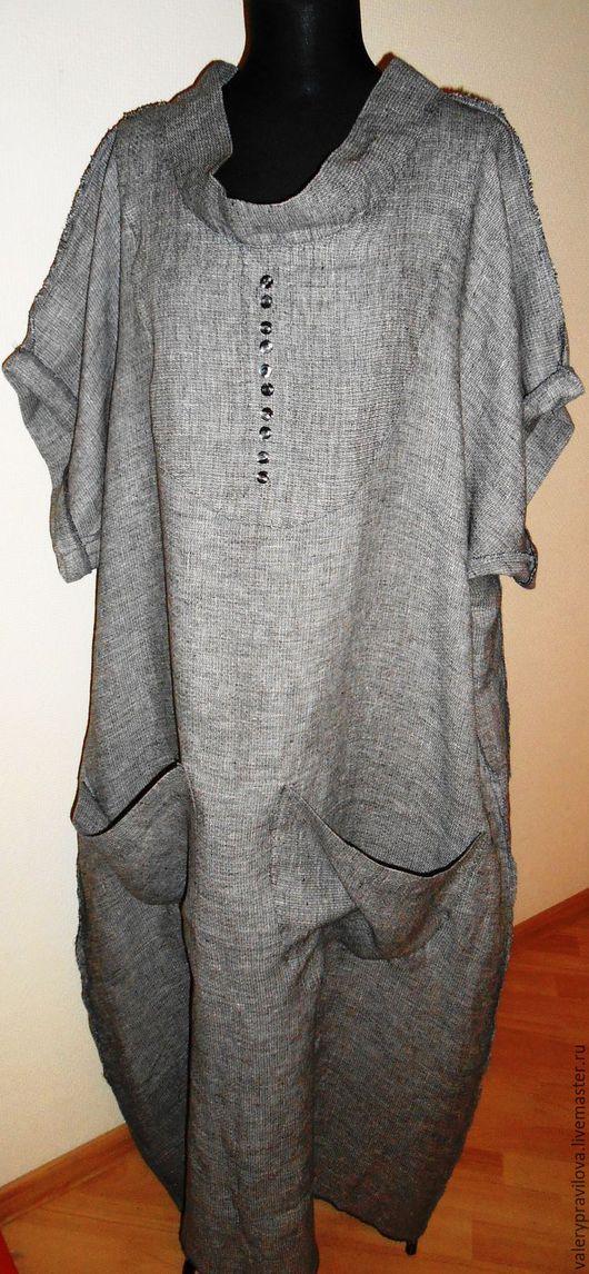 Большие размеры ручной работы. Ярмарка Мастеров - ручная работа. Купить Платье льняное MODA PLUS. Handmade. Серый