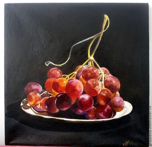 """Натюрморт ручной работы. Ярмарка Мастеров - ручная работа. Купить Картина маслом """"Сочный"""" Сочный виноград 40 на 40 см. Handmade."""