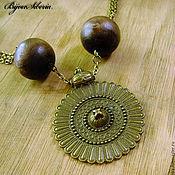 Украшения handmade. Livemaster - original item A necklace of wooden beads with medallion. Handmade.