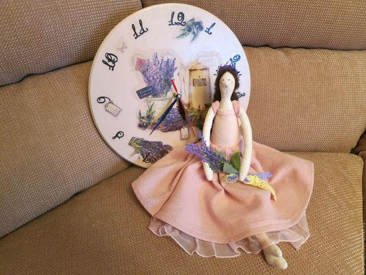 Куклы Тильды ручной работы. Ярмарка Мастеров - ручная работа. Купить Куколка с часами в стиле Прованс. Handmade. Бледно-розовый