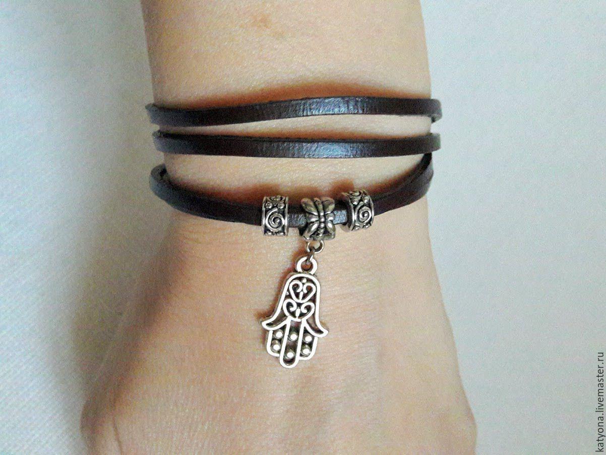 Кожаный браслет-намотка с подвеской