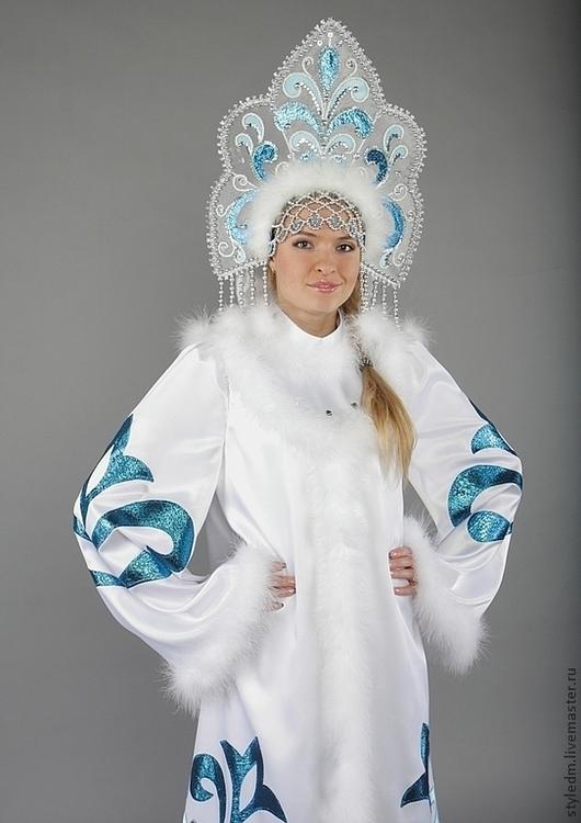 """Купить Костюм Снегурочки """"Сказочная"""" - орнамент, белый ... - photo#20"""