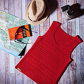Одежда handmade. Livemaster - original item Author`s knitted red top with a combination of patterns Marrakech. Handmade.