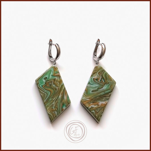 Серьги ручной работы. Ярмарка Мастеров - ручная работа. Купить Серьги зеленые имитация камня. Handmade. Зеленый