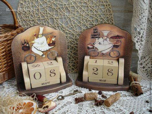 """Календари ручной работы. Ярмарка Мастеров - ручная работа. Купить Календарь """"Веселый повар"""". Handmade. Коричневый, для кухни, для женщины"""