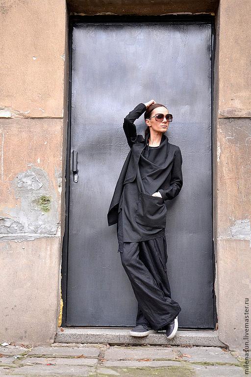 Пиджаки, жакеты ручной работы. Ярмарка Мастеров - ручная работа. Купить Черный пиджак-пальто Ultra Noir. Handmade. Черный