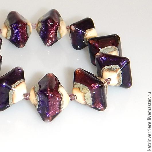 """Для украшений ручной работы. Ярмарка Мастеров - ручная работа. Купить Бусины-кристаллы """"Ночной свет"""". Handmade. Фиолетовый"""