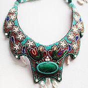Украшения handmade. Livemaster - original item Necklace with amazonite and embroidered mini beads