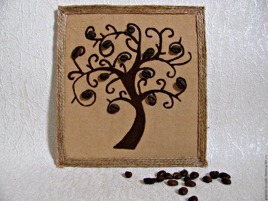 """Пейзаж ручной работы. Ярмарка Мастеров - ручная работа. Купить Картина-панно из молотого кофе """"Кофейное дерево"""". Handmade. Коричневый"""
