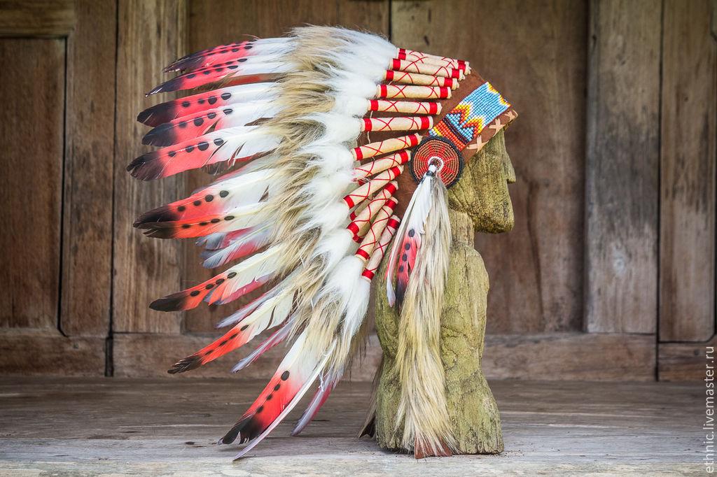 Головной убор индейца из перьев