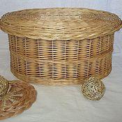 Для дома и интерьера handmade. Livemaster - original item Oval basket for needlework from vines with cover. Handmade.