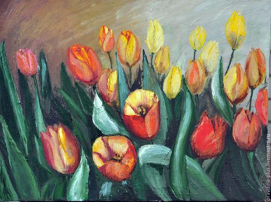 """Картины цветов ручной работы. Ярмарка Мастеров - ручная работа. Купить Картина маслом """"Разноцветные тюльпаны"""". Handmade. Комбинированный"""