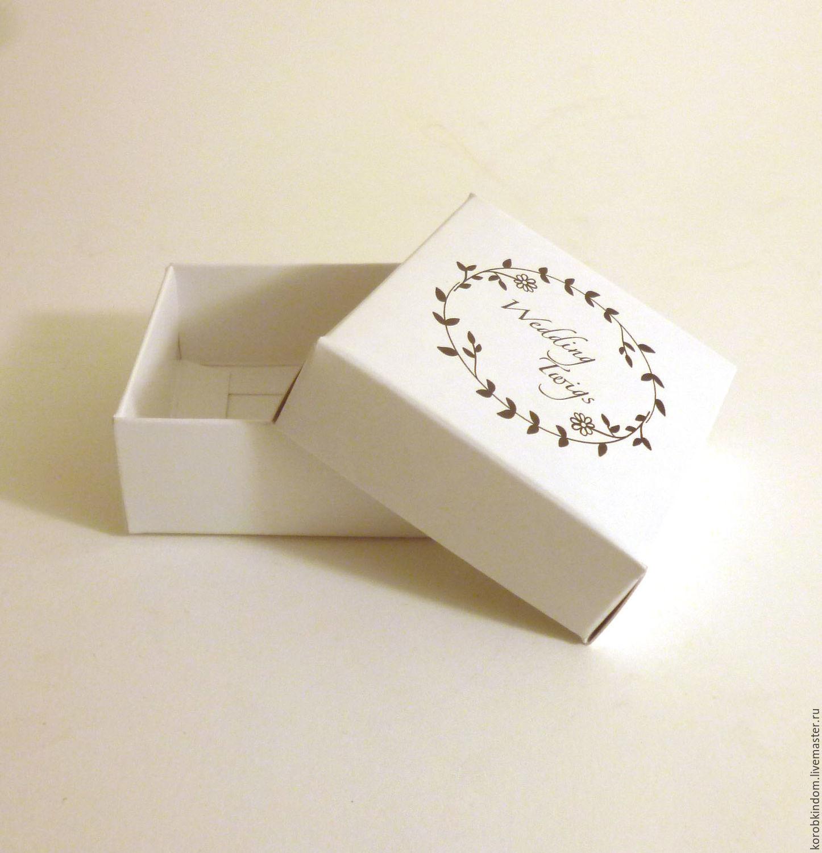 Упаковка ручной работы. Ярмарка Мастеров - ручная работа. Купить 5х5х2 - коробка с логотипом крышка-дно белый мелов. картон, шелкографи. Handmade.