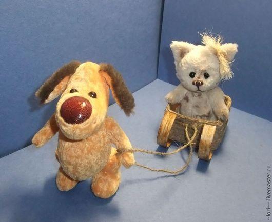 Мишки Тедди ручной работы. Ярмарка Мастеров - ручная работа. Купить Приятелями были котенок и щенок. Handmade. Котенок и щенок
