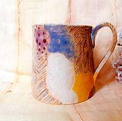 Посуда ручной работы. Ярмарка Мастеров - ручная работа чашка в пятнах и полосках. Handmade.