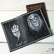 Канцелярские товары handmade. Livemaster - original item Passport cover men`s genuine leather black lion. Handmade.