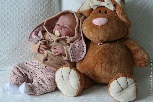 """Для новорожденных, ручной работы. Ярмарка Мастеров - ручная работа. Купить Комплект """"Зайка пасхальный"""". Handmade. Бежевый, для малышки"""