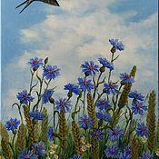Pictures handmade. Livemaster - original item Oil painting Сornflowers & martlet. Handmade.