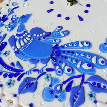 """Для дома и интерьера ручной работы. Ярмарка Мастеров - ручная работа """"Синяя птица"""" , стеклянные часы. Handmade."""
