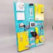 """Бизиборды ручной работы. Ярмарка Мастеров - ручная работа Бизиборд """"Развивайка"""" 30х40 см, бирюзовый. Handmade."""