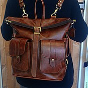 Сумки и аксессуары handmade. Livemaster - original item Backpack-leather bag 4. Handmade.