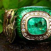 Украшения handmade. Livemaster - original item Collectors Item 4.30tcw Emerald Cushion, Diamond & Enamel Men`s Cockta. Handmade.