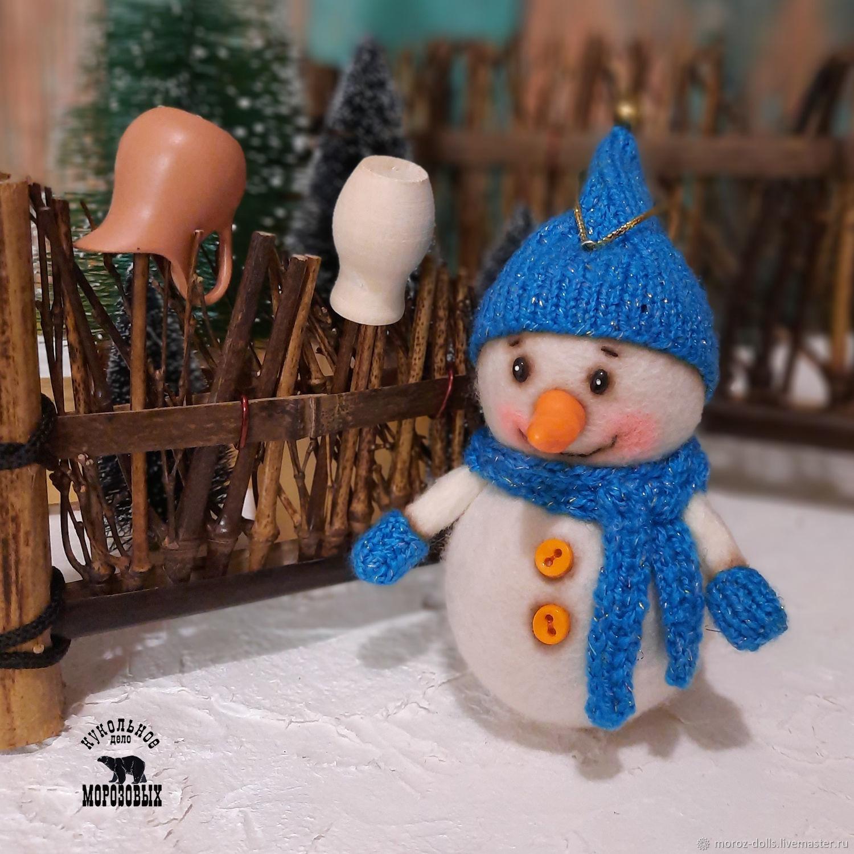 «СНЕГОГНОМ. Снеговик в  синем колпачке», игрушка из шерсти, Интерьерная кукла, Лосино-Петровский,  Фото №1