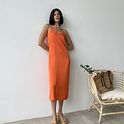 Одежда handmade. Livemaster - original item Combination dress with a raw upper edge ( orange/ cream-br. Handmade.