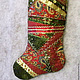 Новый год 2018 ручной работы. Ярмарка Мастеров - ручная работа. Купить Новогодний носок для украшения интерьера в духе Викторианской Англии. Handmade.