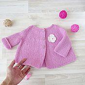 Кофты ручной работы. Ярмарка Мастеров - ручная работа Кофточка для девочки вязаная теплая розовая. Handmade.