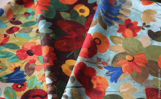 Шитье ручной работы. Ярмарка Мастеров - ручная работа. Купить Ткань для пэчворка Цветочная поляна. Handmade. Зеленый, хлопок США