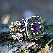Украшения handmade. Livemaster - original item Gold ring with amethyst and tourmalines Versailles. Handmade.